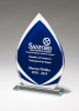 Flame Series Clear Glass Award with Blue Center and Frosted Accents Cobalt Glass Awards