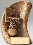 Curve Action Series Sculpted Antique Gold Basketball Resin Trophy Basketball Trophy Awards