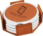 Leatherette Round Coaster Set with Silver Edge -Rawhide Kitchen Gifts