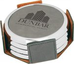 Leatherette Round Coaster Set with Silver Edge -Gray Kitchen Gifts