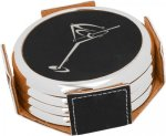 Leatherette Round Coaster Set with Silver Edge -Black/Silver Kitchen Gifts