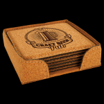 Cork Square Coaster Set with Holder Kitchen Gifts