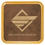 Leatherette Square Coaster with Gold Edge -Rustic Gold  Misc. Gift Awards